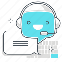 chat bot, keyboard, message, robot, support, type, virtual assistant
