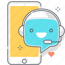application, chat bot, message, robot, smart phone, support, virtual assistant
