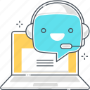 chat bot, computer, message, robot, support, web, web site icon