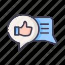 good review, feedback, chatting, thumb up icon