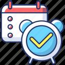 alarm clock, checkmark, reminder, reminder icon icon