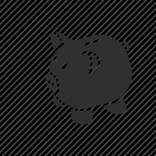 piggy, piggy bank, save, save up icon