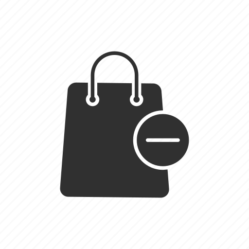 bag, online shopping, remove, remove from bag icon