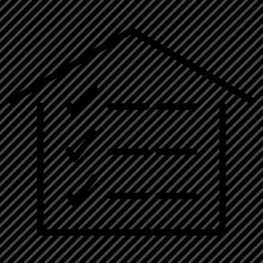 checklist, checkmark, home, house, list, worksheet icon