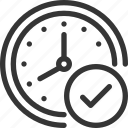 check, clock, completed, finished, mark, ok, time icon