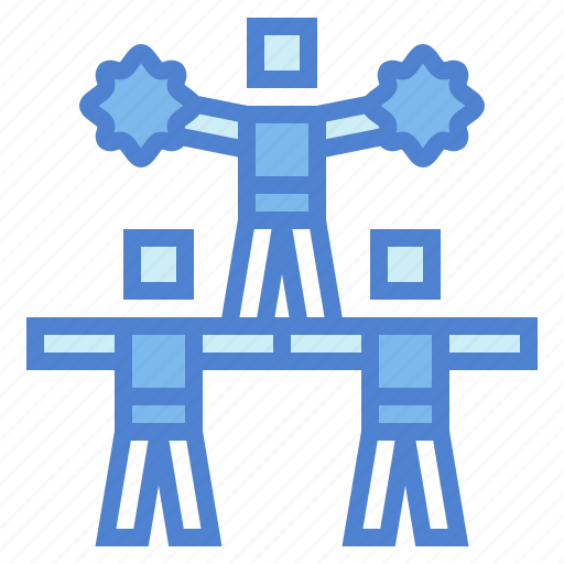 cheerleader, people, persons, pyramid icon