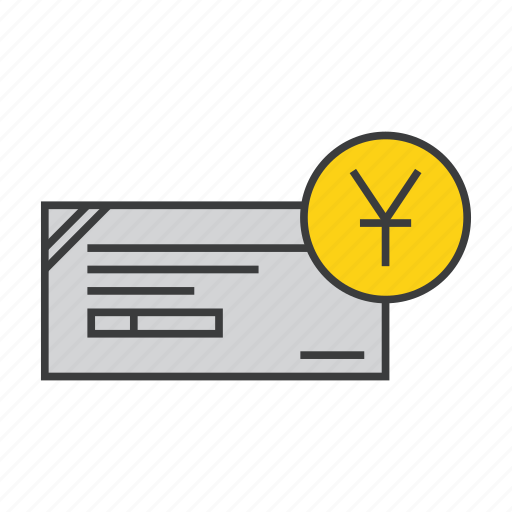 banking, cheque, dd, financial, instrument, payment, yuan icon