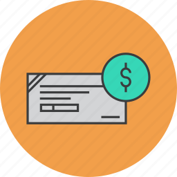 banking, business, cheque, dollar, financial, instrument, payment icon