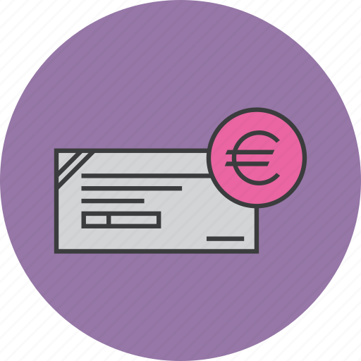 banking, business, cheque, euro, financial, instrument, payment icon