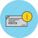 banking, cheque, details, financial, info, information, instrument icon