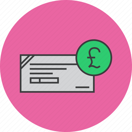 banking, business, cheque, financial, instrument, payment, pound icon