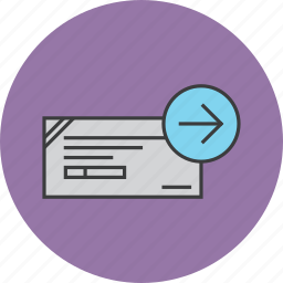 banking, cheque, financial, forward, instrument, proceed, process icon