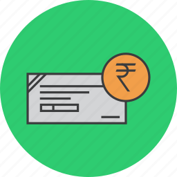 banking, cheque, financial, instrument, payment, rupee, trade icon