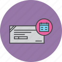 banking, cheque, clearance, financial, instrument, payment, schedule icon