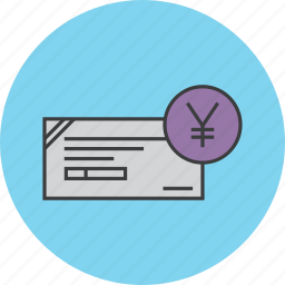 banking, cheque, financial, instrument, payment, trade, yen icon