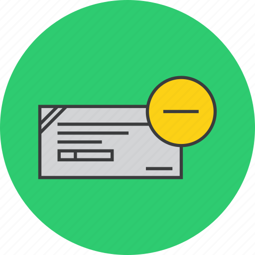 banking, cheque, clear, delete, financial, instrument, payment icon