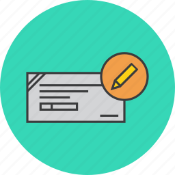 banking, cheque, details, edit, fill, financial, instrument icon