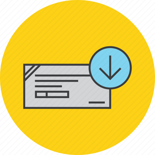 banking, cheque, deposit, financial, instrument, payment, receive icon