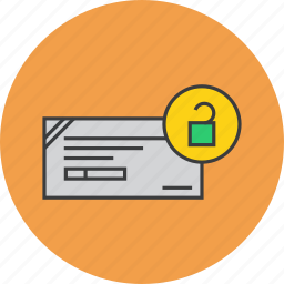 banking, cheque, enable, financial, instrument, payment, release icon