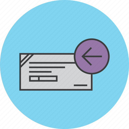 banking, check, cheque, financial, instrument, payment, return icon