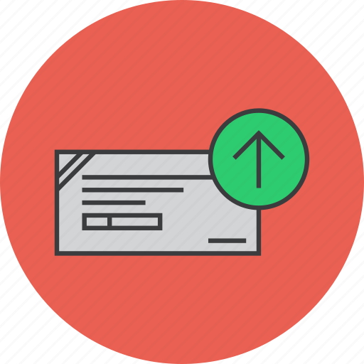 banking, cheque, deposit, financial, instrument, payment, send icon