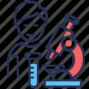 medical tests, microscope, child, laboratory icon