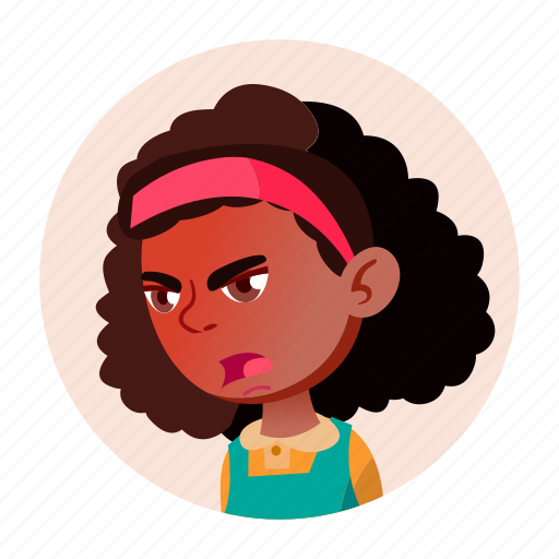 african, black, child, expression, face, girl, people icon