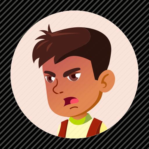 arab, boy, child, emotion, expression, face, people icon
