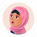 arab, child, emotion, expression, face, girl, people icon