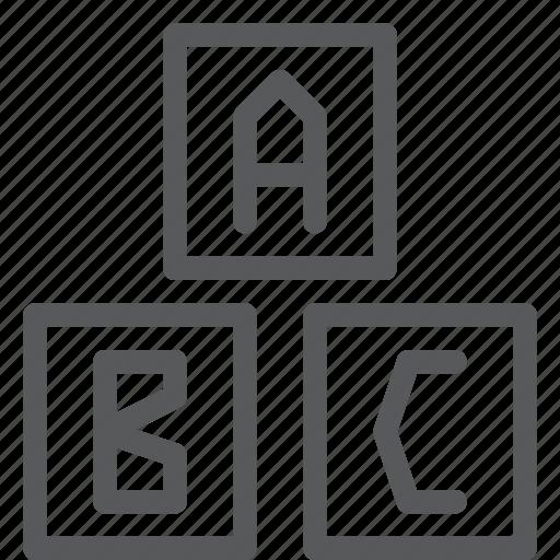 alphabet, baby, blocks, children, education, letter, play, toy icon