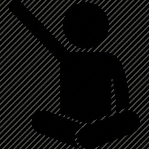 child, hand, kid, raising, sitting, volunteer icon