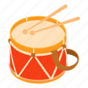 acoustic, baby, cartoon, drum, music, stick, toy icon