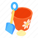 bucket, cartoon, design, kid, sand, shovel, spade icon