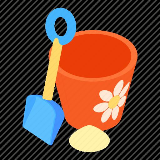 bucket, cartoon, design, kid, sand, shovel, spade icon