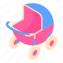 baby, blue, cartoon, red, retro, stroller, toy icon