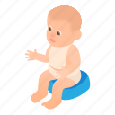 boy, cartoon, child, childhood, hygiene, potty, sitting icon