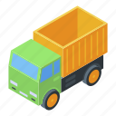 business, isometric, truck, toy, kid, cartoon, baby icon