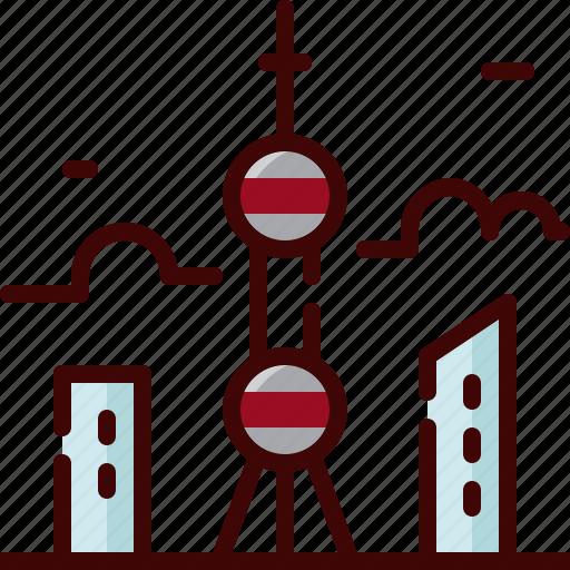 china, landmark, oriental, pearl, tower icon