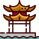 china, lake, west icon