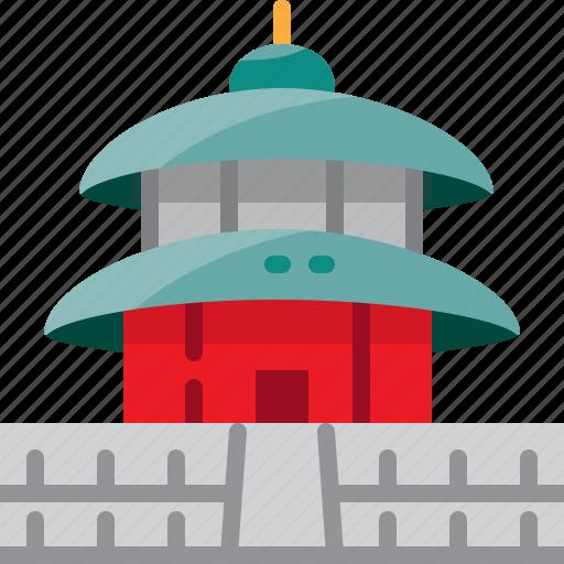 china, heaven, landmark, of, temple icon
