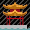 china, lake, west icon