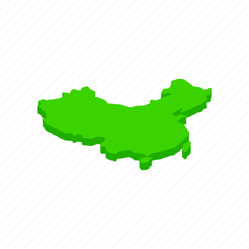 asia, china, chinese, country, geography, isometic, map icon