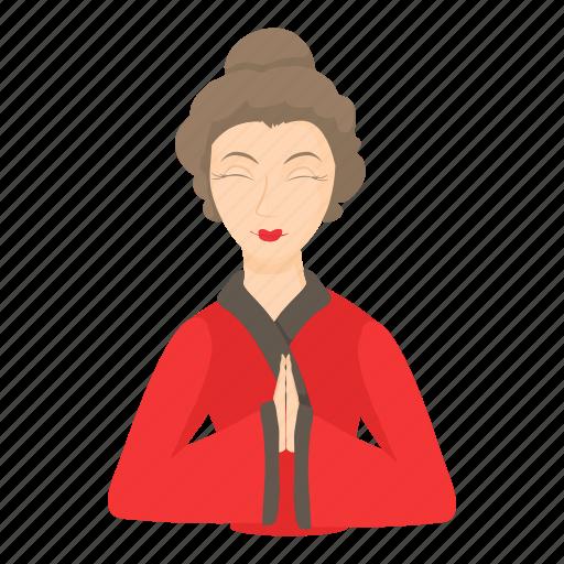 cartoon, decorative, geisha, japanese, kimono, oriental, woman icon