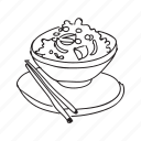chinese, chow fan, food, plate, rice, sticks icon