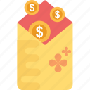 currency, dollar coin, dollars, envelope, wealth icon