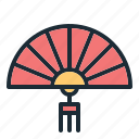 chinese, fan, folding fan, red, lucky, ornament, decoration icon
