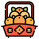 asian, basket, celebration, fruit, orange, oranges icon