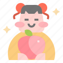 avatar, chinese, fruit, girl, peach icon
