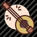 asia, banjo, guitar, medieval, music, play, sing icon