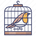 bird, cage, pet, lifestyle icon